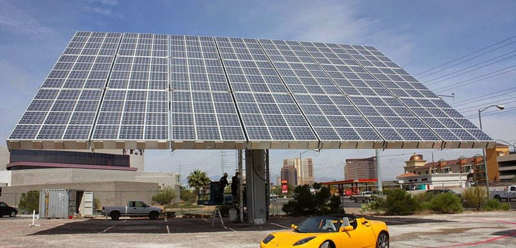 Roof Covered in Solar Power Panels